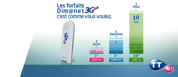 Les forfaits Dim@net 3G++